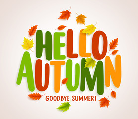 Hello autumn vector banner design with colorful maple leaves elements and text greetings for fall season. Vector illustration.