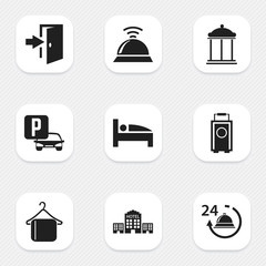 Set Of 9 Editable Motel Icons. Includes Symbols Such As Reception, Baggage, Bearings And More. Can Be Used For Web, Mobile, UI And Infographic Design.