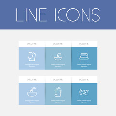 Set Of 6 Editable Cleanup Outline Icons. Includes Symbols Such As Sink, Hand Wash, Sweeping Tools. Can Be Used For Web, Mobile, UI And Infographic Design.