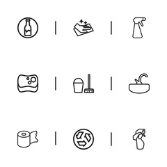 Set Of 9 Editable Cleanup Outline Icons. Includes Symbols Such As Ecology, Sponge, Hygienic Roll And More. Can Be Used For Web, Mobile, UI And Infographic Design.