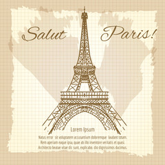 Salut Paris vintage poster design with Eiffel tower. Vector illustration