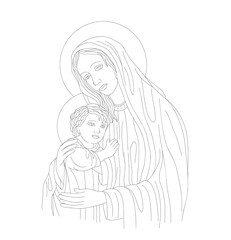 Mother Mary and Son Linr Art, vector design