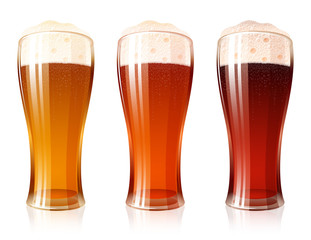 Glass of beer with a varieties of foamy Beer Light Lager, Cool Red, Dark Porter; High detailed realistic vector icon set for a brewing theme. No Mesh
