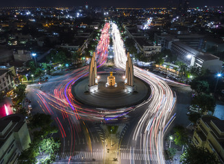 Light Trail on the Democracy Monument in Thailand form aerial photography top view