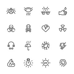 Pollution and Protective Equipment. Vector line icons