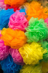 Set of colorful  pompoms in the bazaar