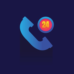 Phone Vector Icon. symbol Mobile Phone on blue background. logo