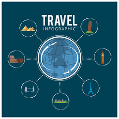 Colourful travel. Travel and tourism background and infographic