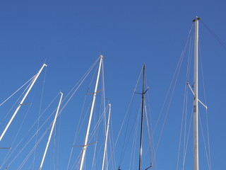 Sailboat masts against the blue sky, Mornington 2017