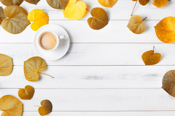 hot coffee with heart shaped autumn leaf