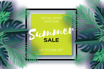 Trendy Summer Sale Template banner. Paper cut art Tropical palm leaves, plants. Exotic. Hawaiian. Space for text. Square frame. Dark green jungle floral background. Monstera, palm. Vector
