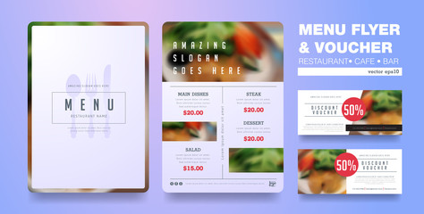 Menu design template with clean design,Restaurant cafe menu, template design, organic food flyer
