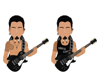 Isolate rock Guitarist on white background