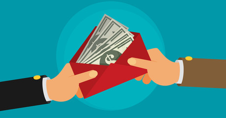 bribe flat vector illustration
