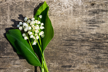 Lily of the valley flowers on wooden background with copy space. Top view