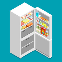 Isometric fridge. flat illustration icon.
