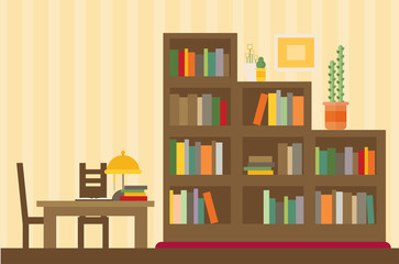 Cabinet and library. Books and knowledge. Vector flat illustration and icon set