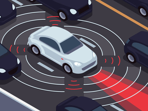 Vehicle autonomous driving technology. Car assistant and traffic monitoring system vector concept