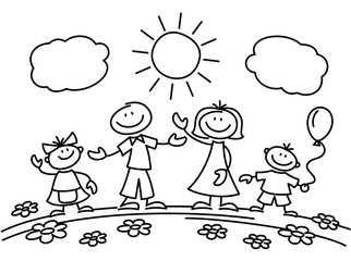 Hand drawn stick figure happy family. Vector illustration