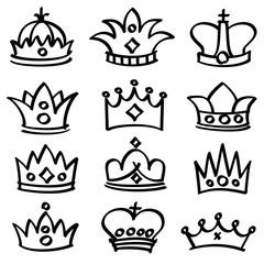 Luxury doodle queen crowns vector sketch collection
