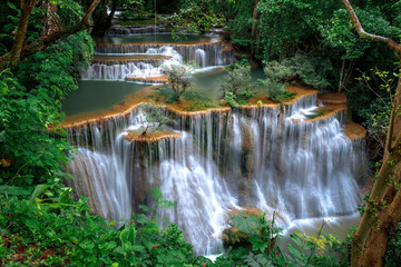 Beautiful waterfall landscape in rainforset at Kanchanaburi province,Thailand