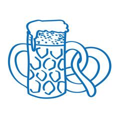 Handgezeichneter Bierkrug mit Brezel in dunkelblau