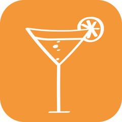 Handgezeichneter Cocktail auf orangenem Hintergrund