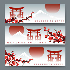 Horizontal banners with blossoming sakura, fuji mountain and japan torii door or asian art cards with chinese gate vector illustration