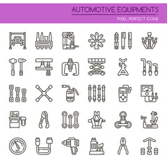 Automotive Equipments , Thin Line and Pixel Perfect Icons.