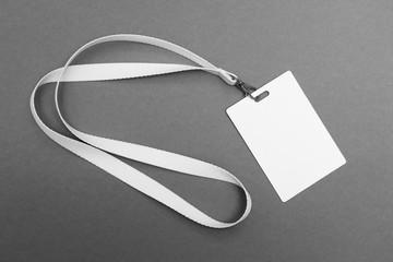 Blank badge with lanyard on grey background