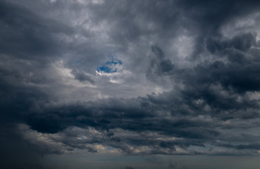 Dramatic sky with dark clouds - nature background.
