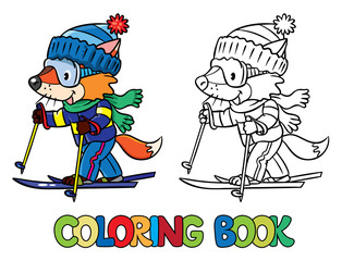 Funny fox rides on skis. Coloring book