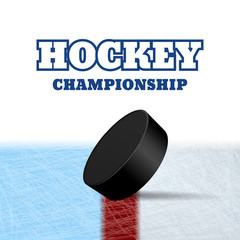 Hockey puck on ice vector eps 10 illustration