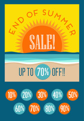 end of summer sale banner with set of editable discount prices. Beach with sunset. for use with web pages, posters, advertising