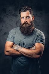 Bearded male with tattoos on arms over grey background.
