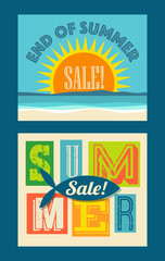 end of summer sale banners. Beach with sunset and typography designs for web pages, posters, advertising