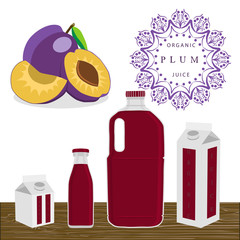 Abstract vector illustration logo for whole ripe fruit purple plum.