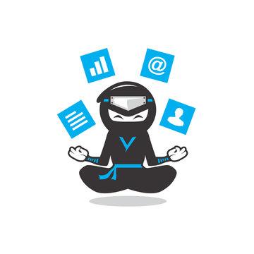 playful modern ninja cartoon meditating levitating social medi clipart icon vector