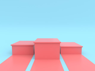 Empty pastel pink winners podium on pastel blue color background. 3D rendering.