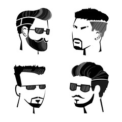Sketch Monochrome Male Hipster Faces Set