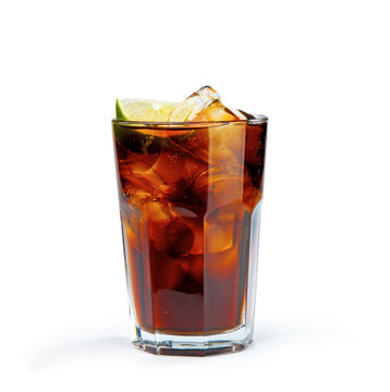 Whiskey Cola in the glass without a straw