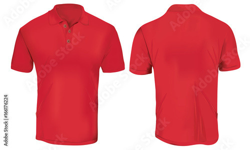 Vector Illustration Of Blank Black Polo T Shirt Template Front And Back Design Isolated On White Stock Image Royalty Free Files Fotolia