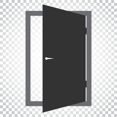 Door vector icon. Exit icon. Open door illustration. Simple business concept pictogram on isolated background.