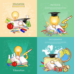 Back to school set. Biology, geography, physics, chemistry, school objects. open book knowledge concept of education vector