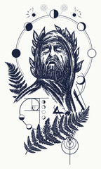 Scientist tattoo and t-shirt design. Great prophet, genius, creator of universe. Symbol of science, art, education, poetry, philosophy, psychology. God of knowledge tattoo