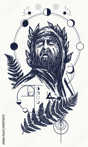 Scientist Tattoo And T Shirt Design Great Prophet Genius