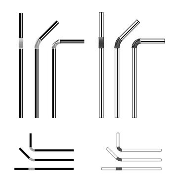 drinking straw black symbol vector