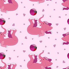Cute elephant and ball. Seamless pattern. Pink color. Vector illustration.