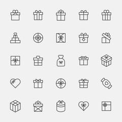 birthday present box icon vector flat design illustration set