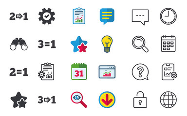 Special offer icons. Take two pay for one sign symbols. Profit at saving. Chat, Report and Calendar signs. Stars, Statistics and Download icons. Question, Clock and Globe. Vector